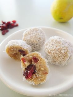 healthy lemon cranberry cheesecake bites