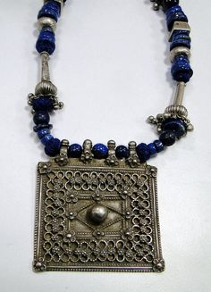 Ethnic tribal old silver pendant.