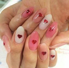 Heart Nail Designs Add a touch of love to your manicure with a heart. It's a great way to add design to your next manicure. Find some heart nail art inspiration for your nails. Heart Nail Designs, Cute Nail Designs, Cute Nails, Pretty Nails, Hair And Nails, My Nails, Pink Nails, Nail Design Glitter, Nails Design