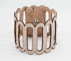 Scalloped Leather Cuff - So simple yet fashionable. It's in the design. #designkarma