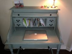 After roll top desk.