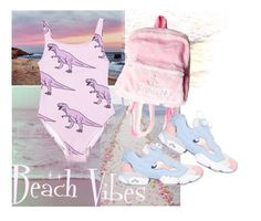 """B E A CH.   V I B E S."" by wavvy-k ❤ liked on Polyvore featuring Ultimate, Retrò and Reebok"