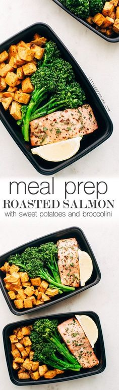 Healthy Meals MEAL PREP - Lemon Roasted Salmon with Sweet Potatoes and Broccolini - an easy way to heat healthier without cooking every single day. Great for lunches or busy weeknight dinners! Lunch Meal Prep, Healthy Meal Prep, Healthy Eating, Vegetarian Meal, Healthy Food, Meal Prep Salmon, Salmon Diet, Cooking Salmon, Paleo Food
