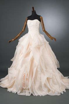 Sweetheart Ruched Blush Pink Organza Ball Gown Wedding Dress on Luulla
