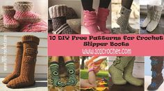 10 DIY Free Patterns for Crochet Slipper Boots | 101 Crochet
