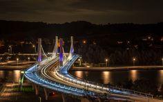 Download wallpapers Kanne, Limburg, village, Belgium, Riemst, night, suspension bridge, city lights