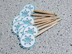 Snowflake Cupcake Toppers (12) Winter Blue Christmas Xmas on Etsy, $4.68