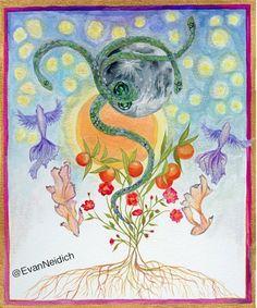 Chakras, Kundalini, Kundalini Snake, Sun, Moon, Stars, Emerald, Illustration, Painting, Rose, Roots, Flying, Fish, Goddess, Yoga, Love