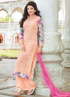 Peach Kajal Agarwal Georgette Palazzo Suit