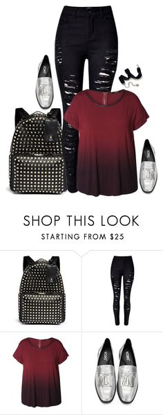 """""""Emo glam.  // School Outfit"""" by rashana ❤ liked on Polyvore featuring Valentino, WithChic, Dex, Sweet Romance, SchoolOutfit2k16 and plus size clothing"""