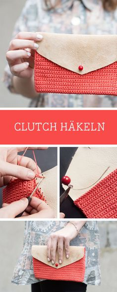DIY-Anleitung: Kleine Häkel-Clutch mit Leder / crochet pattern: clutch with leather via DaWanda.com