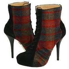 L.A.M.B. Rose (Black Suede/Red Plaid) - Dress Women's Boots
