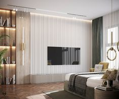 Living Room Partition Design, Room Partition Designs, Interior Design Presentation, Interior Design Gallery, Bedroom Closet Design, Tv In Bedroom, Modern Apartment Decor, Apartment Interior, Dark Walls Living Room