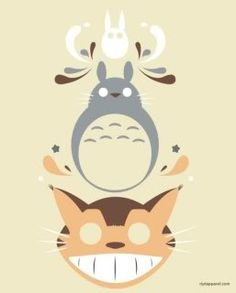 Totoro and cat bus cross stitch pattern.  (Forum post: scroll down to download.)