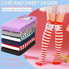 Amazon.com: Girls Knee High Long Socks for Child 6 Pairs Fun Animal Pattern Tall Cute Crazy Boot Funny Kids Socks(Animal F,3-12 Years Old): Clothing Girls Knee High Socks, Sock Animals, Kids Socks, Long Boots, Cool Socks, Funny Kids, Gifts For Kids, Pairs, Amazon
