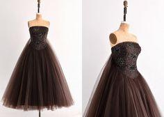 vintage 1950s dress  HELENA BARBIERI / strapless di PickledVintage, $2800.00