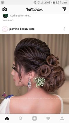Bridal Hairstyle Indian Wedding, Bridal Hair Buns, Bridal Hairdo, Braided Hairstyles For Wedding, Evening Hairstyles, Indian Hairstyles, Bride Hairstyles, Cool Hairstyles, Frozen Hair Tutorial