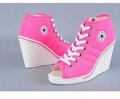 Women-toe-open-wedge-Heels-Sneakers-Shoes-trainers-orange-bright-pink-239