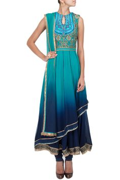 Turquoise to midnight blue ombre asymmetric layered anarkali set BY JJ VALAYA.