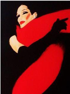 """By René Gruau, 1990, """"La femme en noir""""."""