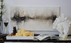 24 x 48 abstrakte Malerei schwarz weiß Metallic von ArtByCornelia