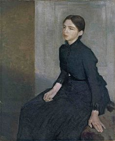 Vilhelm Hammershoi. Portrait of a Young Woman, The Artist's Sister Anna. 1885.