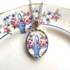 Broken China Jewelry oval pendant necklace by dishfunctionldesigns