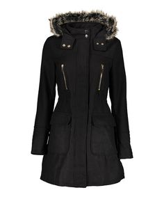Look at this Yoki Black Faux Fur-Hood Anorak Coat on #zulily today!