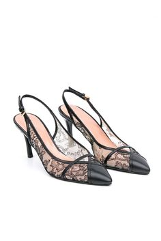 Giorgio Fabiani SS17 pointed toe slingback with a fascinating black lace texture