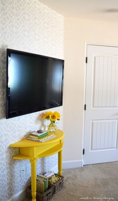 table front under tv with a pop of color.Could also be a good idea for a shallow entry foyer table.