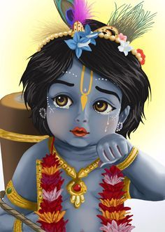 Baby Krishna looks out. Krishna has a loving relationship with each and every living entity. Lord Krishna Wallpapers, Radha Krishna Wallpaper, Lord Krishna Images, Radha Krishna Pictures, Radha Krishna Photo, Krishna Photos, Radha Krishna Paintings, Ganesha Pictures, Baby Krishna