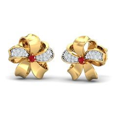 Ribbon Floral Studs Floral designs can never go out of fashion! These floral studs beautifully designed in a ribbon-like shape are your go-to studs for any special occasion. Buy Earrings, Diamond Earrings, Ruby Stone, Gold Jewellery, Jewelry, Studs, Ribbon, Gemstones, Floral Designs