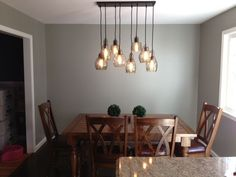 My dining room table and FINALLY.my dining room light fixture arrived & is installed. Dining Room Light Fixtures, Dining Room Lighting, Dining Room Design, Dining Room Table, Best Dining, Kitchen Remodel, New Homes, Ceiling Lights, Lanterns