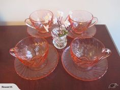 Set of 4 Pink Glass Arcoroc Cups & Saucers | Trade Me