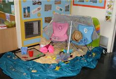 A super Beach classroom Role-Play Area photo contribution. Great ideas for your classroom! Dramatic Play Area, Dramatic Play Centers, Nursery Activities, Beach Activities, School Displays, Classroom Displays, Ocean Themes, Beach Themes, Sharing A Shell