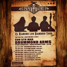 Buenos días desperados! We'll be continuing our 'El Rancho Los Bandido Tour' this Sunday (5th March), with a special matinee show at Drummond Arms, Portswood, Southampton. On from 5pm. Ay caramba!  Proudly sponsored by Absolute Music, Bournemouth: www.absolutemusic.co.uk  #livemusic #music #americana #thepapertrains #ontour #banjo #guitar #doublebass