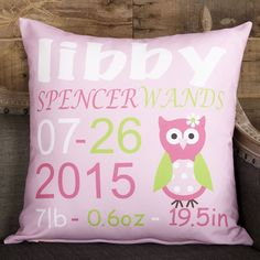 Baby Girls Pink Girl Owl Name Birthdate Weight Inches Pillow Cover