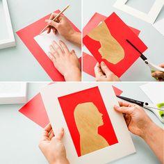Follow this home decor DIY tutorial to make a gold leaf silhouette art piece.