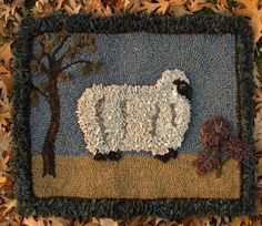 Hooked Rugs | Hooked Rug Sheep Hand Hooked and Proddy Rug by cabincreek on Etsy