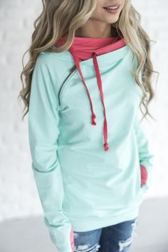 Double Hooded Sweatshirt - Watermelon - Mindy Mae's Market