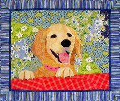 """""""Ellie Pup"""", 32 x 36"""", a paper pieced quilt by Sue Rasmussen"""