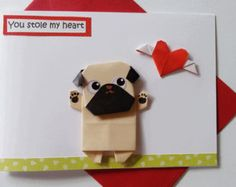 Cute origami handmade pug birthday card for girlfriend funny dog origami pug birthday card handmade dog card for girlfriend dog lovers pug card bookmarktalkfo Image collections