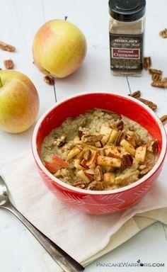 Apple Cinnamon Cauliflower oats (or caulioats) are the perfect grain free breakfast! #vegan #glutenfree