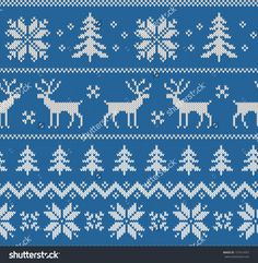 Seamless pattern with imitation of knitted winter sweater design - deer, snowflake and christmas tree, raster illustration