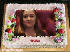 Latest Happy Birthday Cake With Name And Photo Frame Birthday Cake For Brother, Special Birthday Cakes, Birthday Cake With Photo, Birthday Cake With Flowers, Happy Birthday Cakes, Birthday Msgs, Cake Name, Frame, Birthday Messages