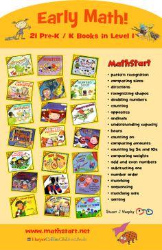 Early Math Matters! 21 Pre-K / K Level 1 MathStart Stories / http://vizlearning.tumblr.com/post/78362304323/early-math-matters-21-pre-k-k-level-1-mathstart #math #preschool #earlyed #ece
