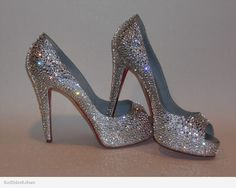 Christian Louboutin strassed in clear Swarovski by Red Soles Reborn