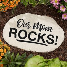 Show mom how much she is loved with the Our Mom Rocks Garden Stone. The large stone will be custom printed with any name or title, then the small stones will each be printed with the names of each child. Rock Painting Ideas Easy, Rock Painting Designs, Large Garden Stones, Rocks Garden, Personalized Garden Stones, Landscaping With Rocks, Nautical Landscaping, Landscaping Tips, Rock Decor