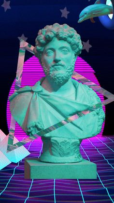 Vaporwave Aesthetic Marcus Aurelius bust for all you stoics out there!