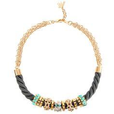 Collier Hani – Or, Gris & Turquoise   John & Pearl #bijoux #bijouxcreateur